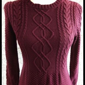 The Limited Burgandy Knit Sweater Dress - Small